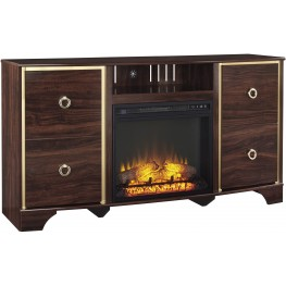 Lenmara Reddish Brown Large TV Stand With Glass/Stone Fireplace Insert