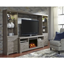 Parlau Warm Gray Vintage Entertainment Wall with Fireplace Insert