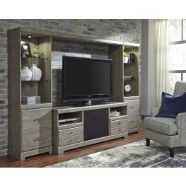 Parlau Warm Gray Vintage Entertainment Wall with Integrated Audio