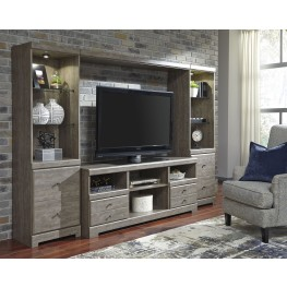 Parlau Warm Gray Vintage Entertainment Wall with Fireplace Option