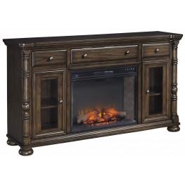 Brosana Grayish Brown Xl TV Stand With LG Infrared Fireplace Insert