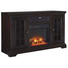 Willenburg Transparent Dark Coffee Large TV Stand With Fireplace Insert