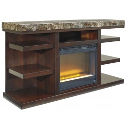 Kraleene LG TV Stand With Glass/Stone Fireplace Insert