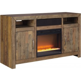 Sommerford Brown TV Stand With Glass Fireplace Insert