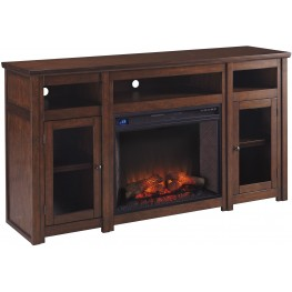 Harpan Reddish Brown Xl TV Stand With Fireplace and Audio Option