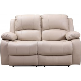 Shae Winnfield Taupe Leather Power Reclining Loveseat