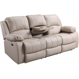Shae Winnfield Taupe Leather Power Reclining Sofa