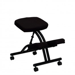 Black Fabric Mobile Ergonomic Kneeling Chair