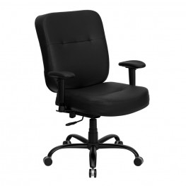Hercules 500lbs Capacity Big and Tall Black Office Chair with Arms and Extra WIDE Seat