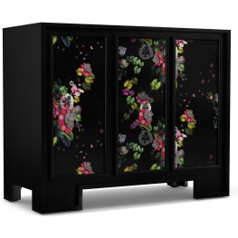 Cynthia Rowley Black Fleur de Glee 3 Door Accent Chest