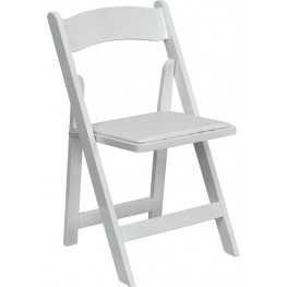 Hercules White Wood Folding Chair with Padded Seat