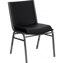 Hercules Heavy Duty, 3'' Thickly Padded, Black Vinyl Stack Chair