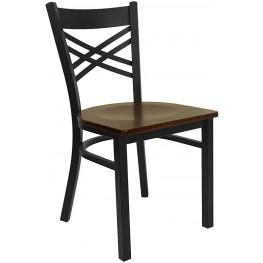 "Hercules Black """"X"""" Back Metal Restaurant Chair - Mahogany Wood Seat"