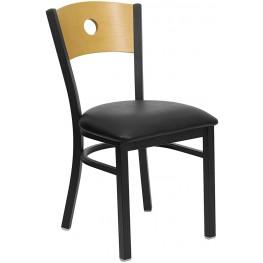 Hercules Black Circle Back Metal Restaurant Chair - Natural Wood Back, Black Vinyl Seat