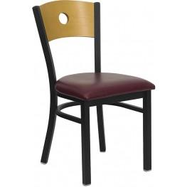 Hercules Black Circle Back Metal Restaurant Chair - Natural Wood Back, Burgundy Vinyl Seat