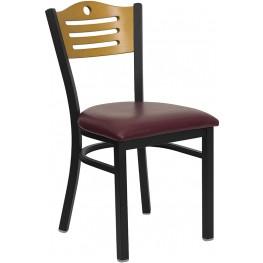 Hercules Black Slat Back Metal Restaurant Chair - Natural Wood Back, Burgundy Vinyl Seat