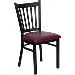 Hercules Black Vertical Back Metal Restaurant Chair Burgundy Seat