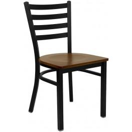 6564 Hercules Black Ladder Back Metal Restaurant Chair - Cherry Wood Seat