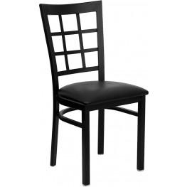 Hercules Black Window Back Metal Restaurant Chair - Black Vinyl Seat