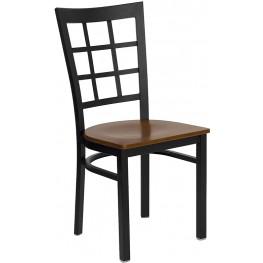 Hercules Black Window Back Metal Restaurant Chair - Cherry Wood Seat