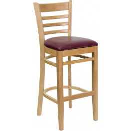 Hercules Natural Wood Finished Ladder Back Wooden Restaurant Bar Stool - Burgundy Vinyl Seat