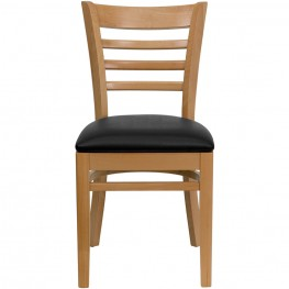 Hercules Natural Wood Finished Ladder Back Wooden Restaurant Chair - Black Vinyl Seat