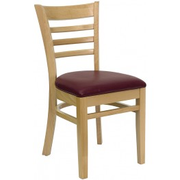 Hercules Natural Wood Finished Ladder Back Wooden Restaurant Chair - Burgundy Vinyl Seat