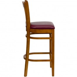 Hercules Cherry Finished Vertical Slat Back Wooden Restaurant Bar Stool - Burgundy Vinyl Seat