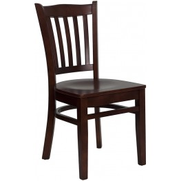 Hercules Mahogany Finished Vertical Slat Back Wooden Restaurant Chair