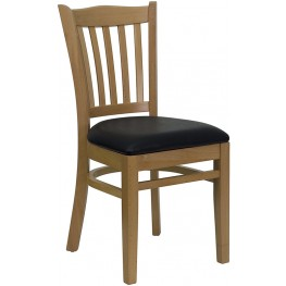 Hercules Natural Wood Finished Vertical Slat Back Wooden Restaurant Chair - Black Vinyl Seat