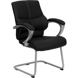 Embroidered Black Leather Executive Side Chair With Silver Sled Base (Min Order Qty Required)