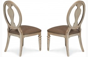 Belmar Antique Linen Oval Splat Back Side Chair Set of 2