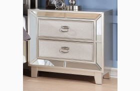 Stefano Silver Nightstand With USB Port