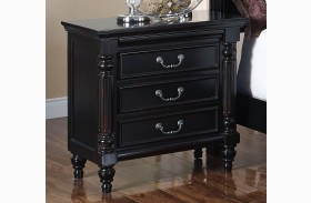 Martinique Rubbed Black Nightstand