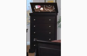Belle Rose Black Cherry 5 Drawer Lift Top Chest