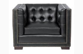Voltaire Black Leather Armchair