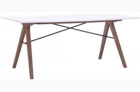 Saints Walnut & White Rectangular Dining Table