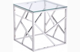 Cage Polished Stainless Steel Side Table
