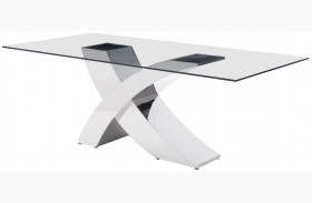 Wave Chrome Rectangular Dining Table