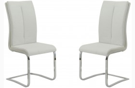 Lowry White and Chrome Side Chair Set of 2