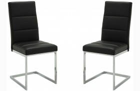 Augustin Black and Chrome Side Chair Set of 2