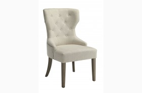 Florence Beige Fabric Side Chair by Donny Osmond