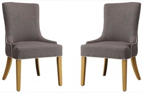 Grey Upholstered Side Chair by Donny Osmond Set of 2