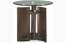 Apex Dark Umber Brown Round End Table