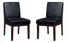 Couture Elegance Black Upholstered Side Chair Set of 2