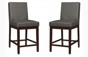 Couture Elegance Gray Upholstered Counter Height Chair Set of 2
