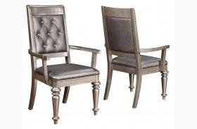 Danette Metallic Platinum Arm Chair Set of 2
