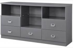 Lowry High Gloss Taupe and Metal Chrome Server