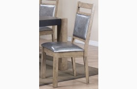 Ludolf Silver Metallic and Antique Natural Side Chair Set of 2