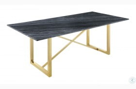 Arcade Black Grey Marble and Sunny Gold Dining Table
